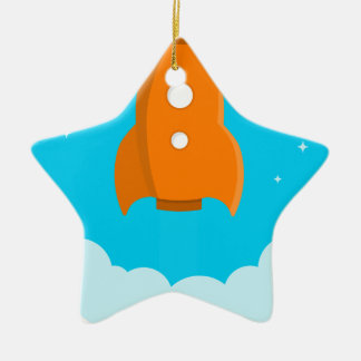 Rocket Ship Taking Off Ceramic Ornament