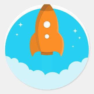Rocket Ship Taking Off Classic Round Sticker