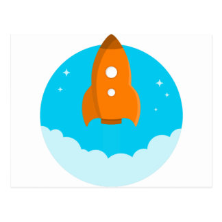 Rocket Ship Taking Off Postcard