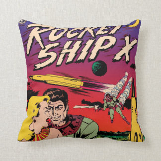 Rocket Ship X Vintage Sci Fi Comic Book Cover Throw Pillow