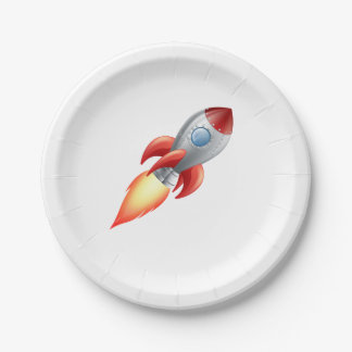Rocket shooting into space paper plate