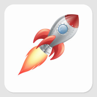 Rocket shooting into space square sticker