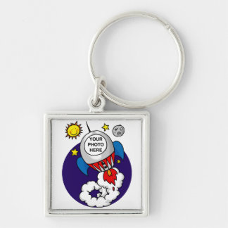 rocket space birthday kid Silver-Colored square keychain