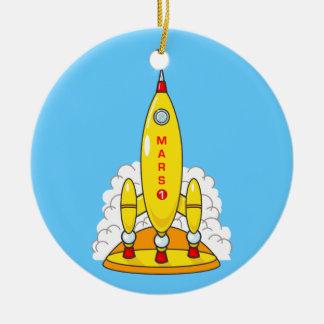 Rocket To Mars Ceramic Ornament