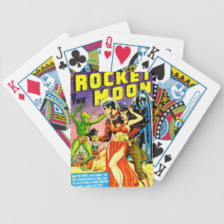 Rocket to the Moon Bicycle Playing Cards