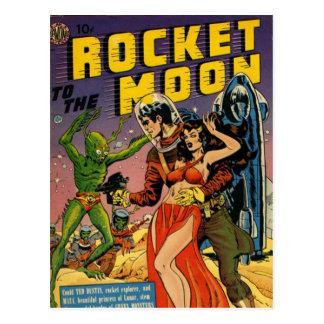 Rocket to the Moon Comic Postcard