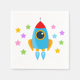 Rocket with Stars Paper Napkin