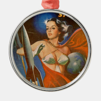 Rocket Woman Metal Ornament