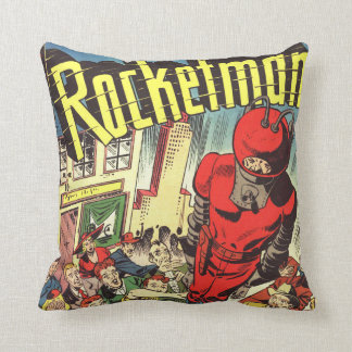 Rocketman vintage comics throw pillow
