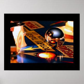 Rocketship pinball poster Black border