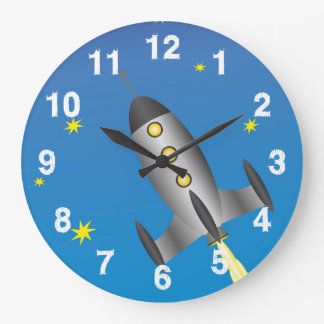Rocketship starry sky large clock