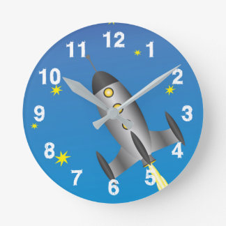 Rocketship starry sky round clock