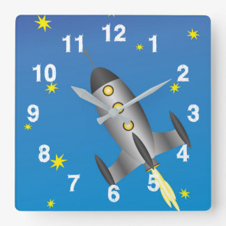 Rocketship starry sky square wall clock