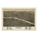 Rockford Illinois 1880 Antique Panoramic Map Poster