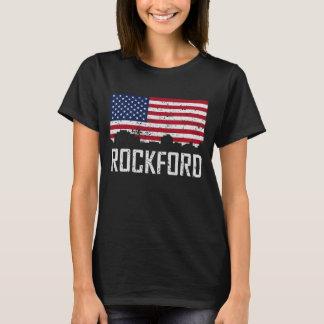 Rockford Illinois Skyline American Flag Distressed T-Shirt