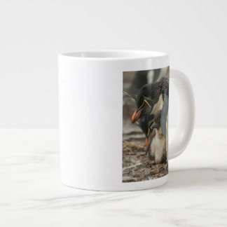 Rockhopper penguin and chick large coffee mug