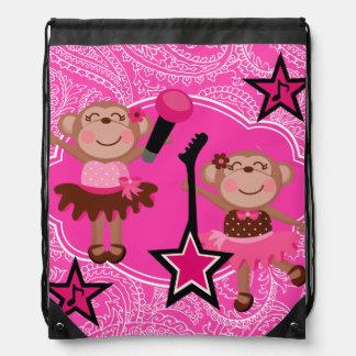 Rockin' Ballerina Monkeys Drawstring Backpack Bag