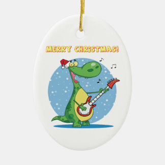 Rockin' dinosaur merry christmas ornament