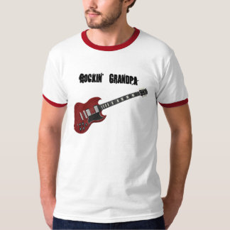 Rockin' Grandpa, red & black guitar T Shirt