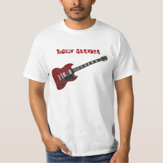 Rockin' Grandpa, red & black guitar T Shirts