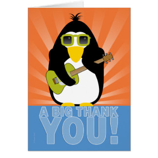 Rockin' Penguin with Guitar Thank You Card