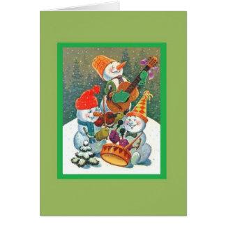 Rockin Snowman Band Holiday Greeting Cards