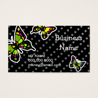ROCKIN' STAINGLASS BUTTERFLIES DOTS BUSINESS CARD
