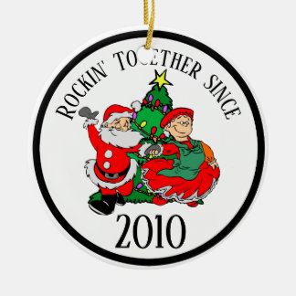 Rockin Together Couples Christmas Tree and Santa Ceramic Ornament