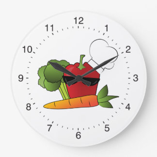 Rockin Veggies Kitchen Large Clock