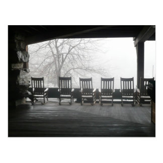 Rocking chair porch with a beautiful view postcard