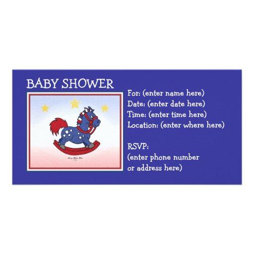 Rocking Horse  Americana Baby Shower Personalized Photo Card