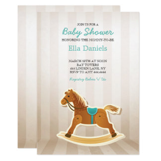 Rocking Horse Baby Shower Boy Invitation
