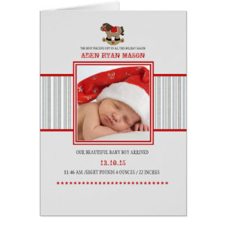 Rocking Horse - Photo Folded Holiday Birth Announc Card