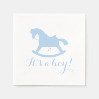 Rocking Horse Silhouette Baby Shower Napkins Blue Disposable Napkin