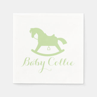 Rocking Horse Silhouette Baby Shower Napkins Green Disposable Napkins