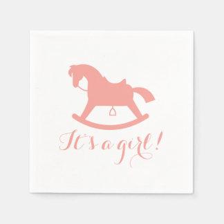 Rocking Horse Silhouette Baby Shower Napkins Pink Paper Napkin