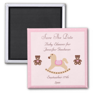 Rocking Horse & Teddies Save The Date Baby Shower Magnet