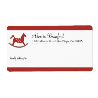 Rocking horse toy Christmas custom shipping Labels