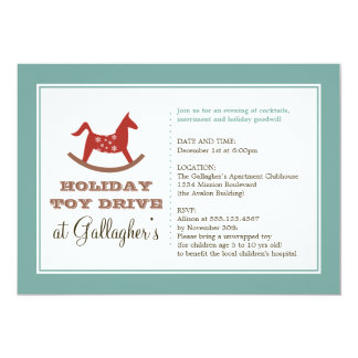 "Rocking horse toy drive christmas holiday charity 5"" x 7"" invitation card"
