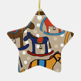 rocking horses ceramic ornament