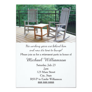 "Rocking Porch Chairs Retirement Party 4.5"" X 6.25"" Invitation Card"
