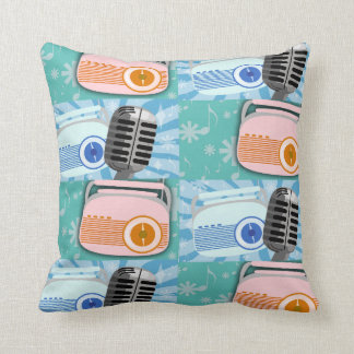 Rocking Radio Retro Fun Throw Pillow