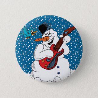 Rocking Snowman 2 Inch Round Button