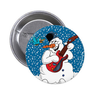 Rocking Snowman 2 Inch Round Button
