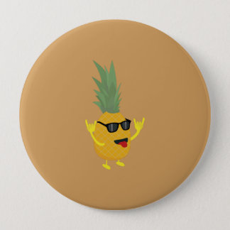 rock'n'roll pineapple 4 inch round button