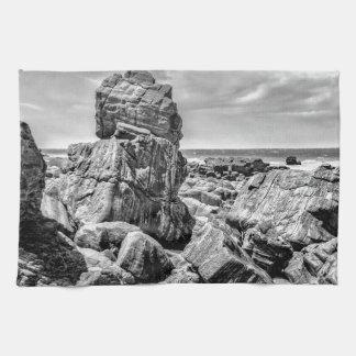 Rocks at Shore in Praia Malhada Jericoacoara Brazi Kitchen Towel