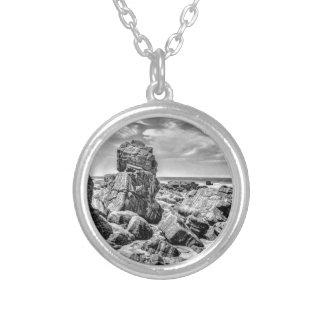 Rocks at Shore in Praia Malhada Jericoacoara Brazi Silver Plated Necklace