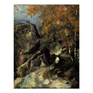 Rocks in Fountanbleu Forest by Paul Cezanne Poster