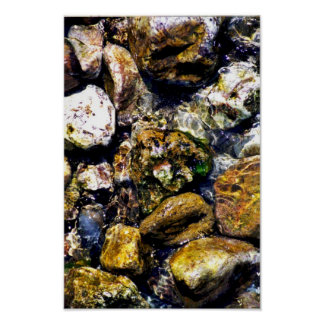 rocks in river poster