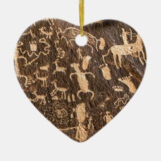 Rocks Newspaper Rock Utah Ceramic Heart Ornament